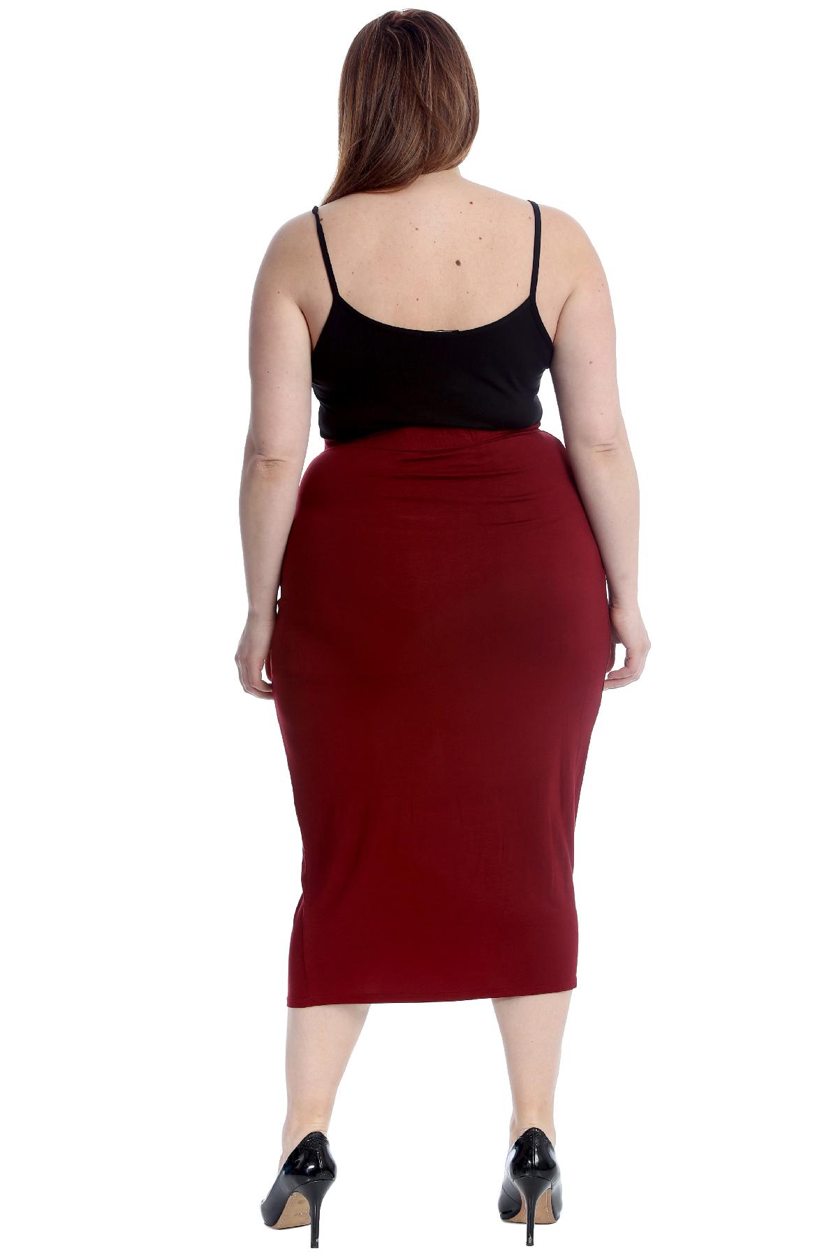 Neu Damen Übergröße Bodycon Bleistift Röcke Frau Stretch Skirt Lange Büroarbeit Röcke
