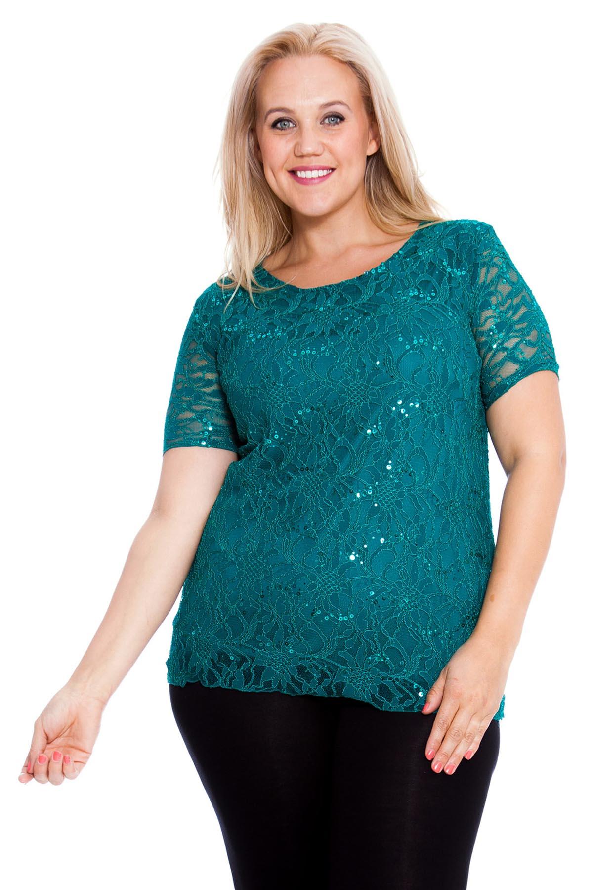 New-Ladies-Top-Plus-Size-Womens-Shirt-Tunic-Floral-Lace-Sequins-Party-Nouvelle