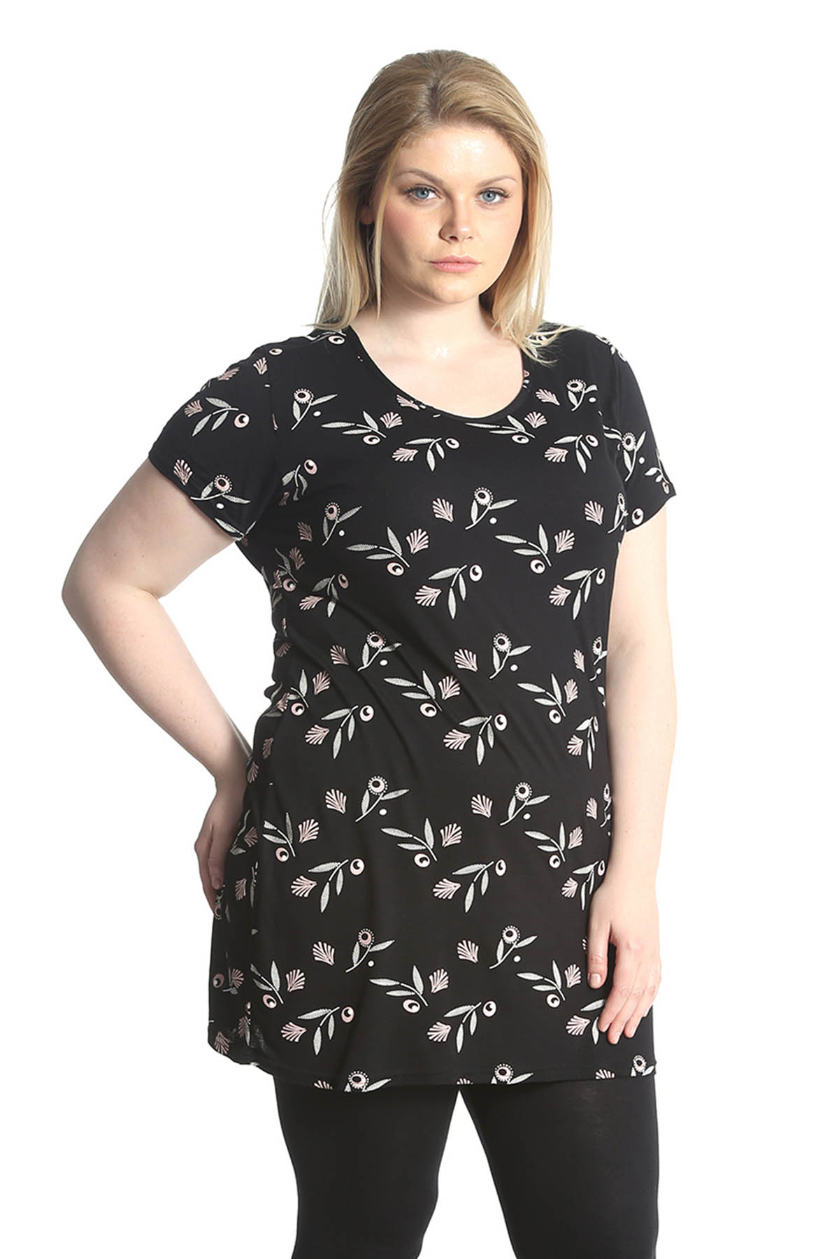 New Womens Tops Plus Size Ladies T-Shirt Floral Tunic Leaf ...