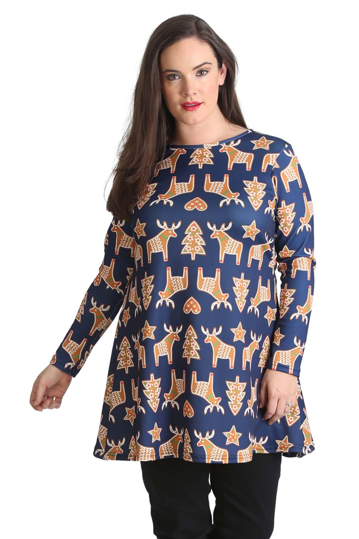 Nouvelle-Plus-Size-Women-039-s-Gingerbread-Print-Xmas-Top