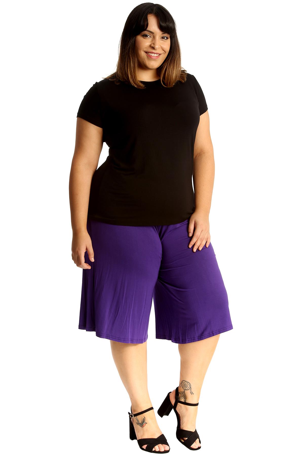 New-Womens-Plus-Size-Culottes-Ladies-Plain-Shorts-Palazzo-Elastic-Pants-Summer thumbnail 30