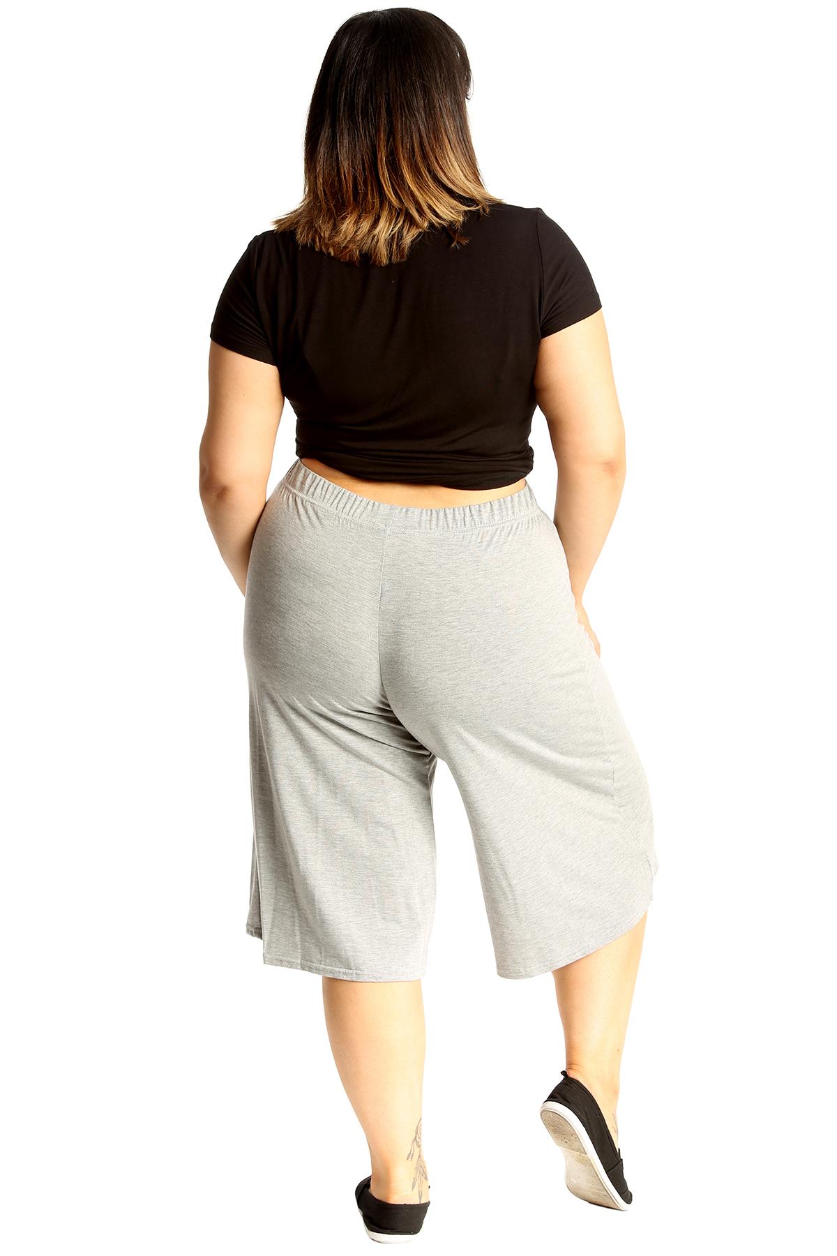 New-Womens-Plus-Size-Culottes-Ladies-Plain-Shorts-Palazzo-Elastic-Pants-Summer thumbnail 24