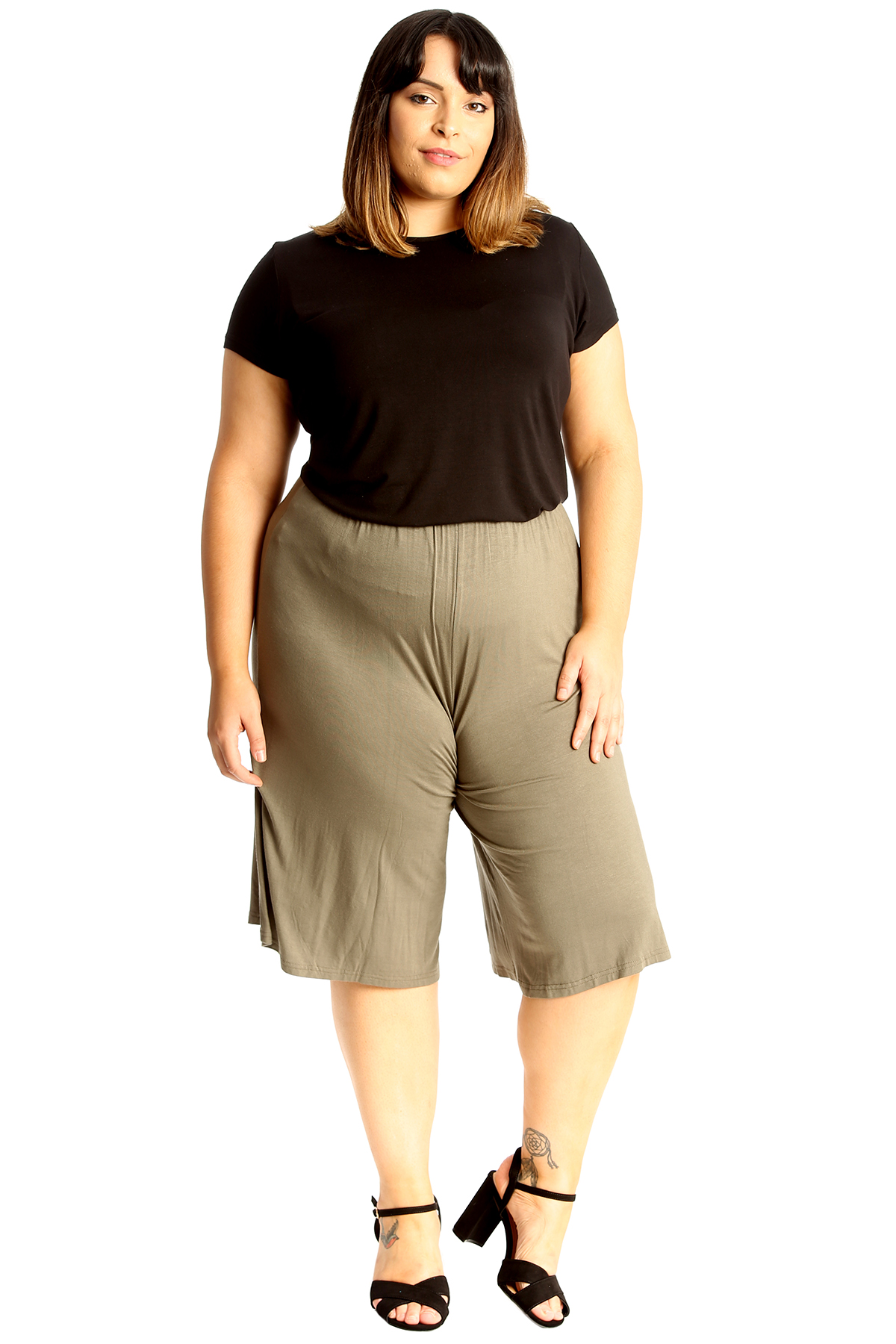 New-Womens-Plus-Size-Culottes-Ladies-Plain-Shorts-Palazzo-Elastic-Pants-Summer thumbnail 54