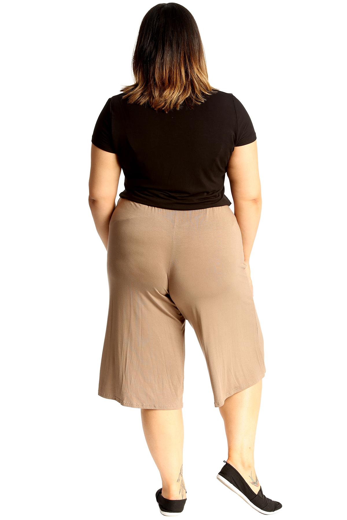 New-Womens-Plus-Size-Culottes-Ladies-Plain-Shorts-Palazzo-Elastic-Pants-Summer thumbnail 28