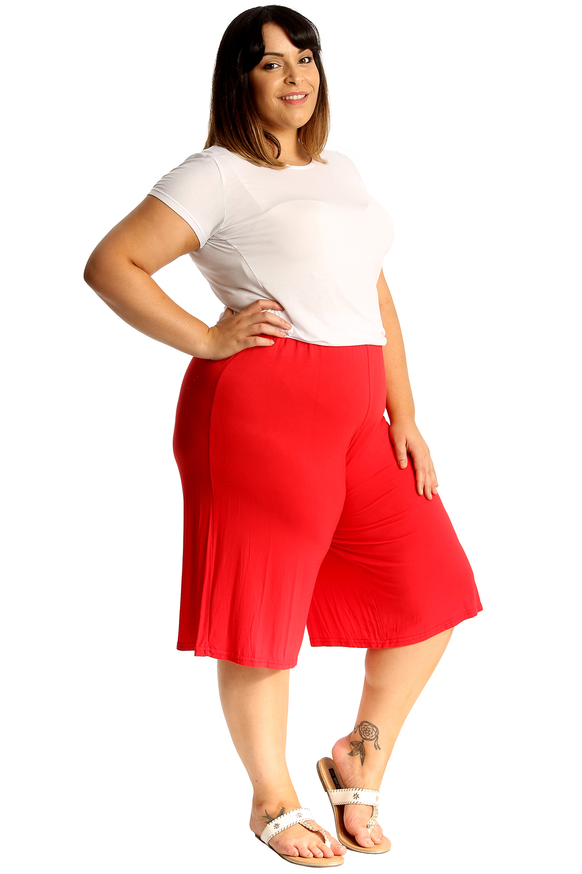 New-Womens-Plus-Size-Culottes-Ladies-Plain-Shorts-Palazzo-Elastic-Pants-Summer thumbnail 35