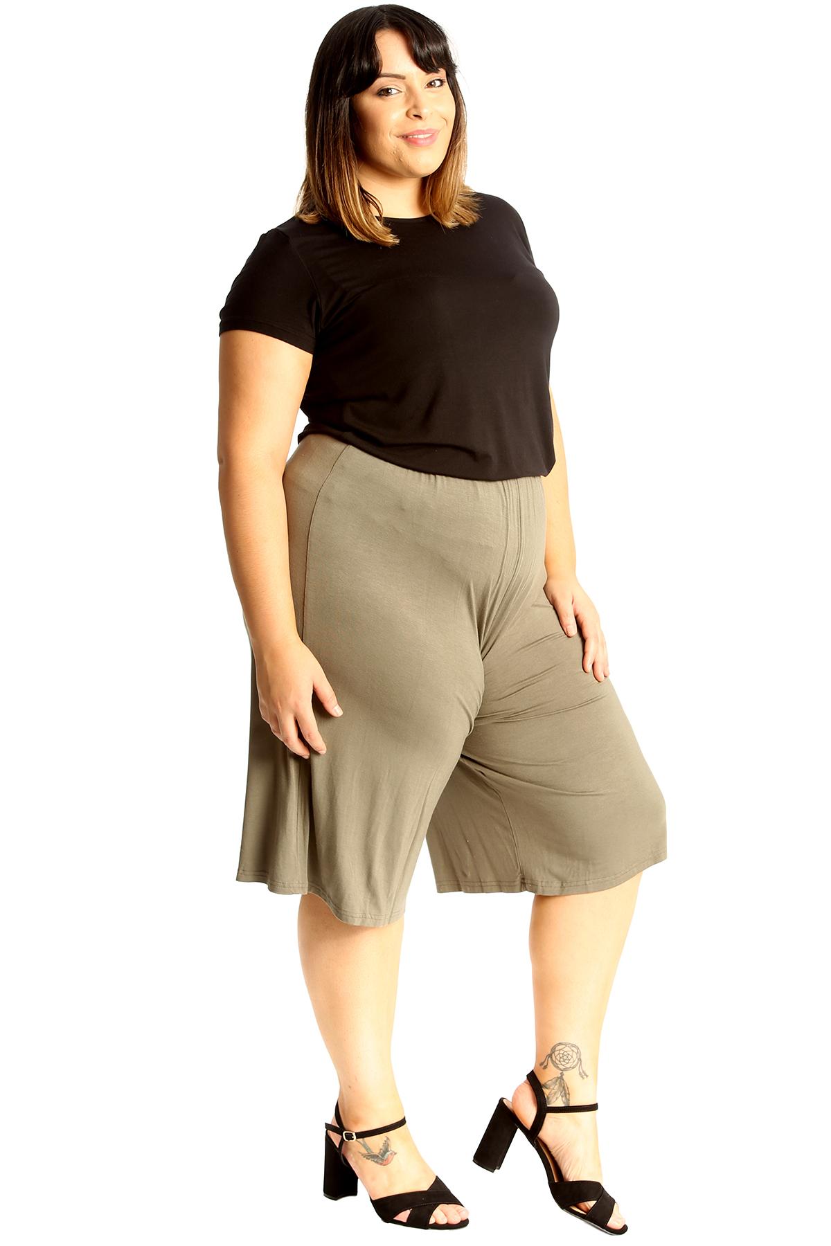New-Womens-Plus-Size-Culottes-Ladies-Plain-Shorts-Palazzo-Elastic-Pants-Summer thumbnail 55