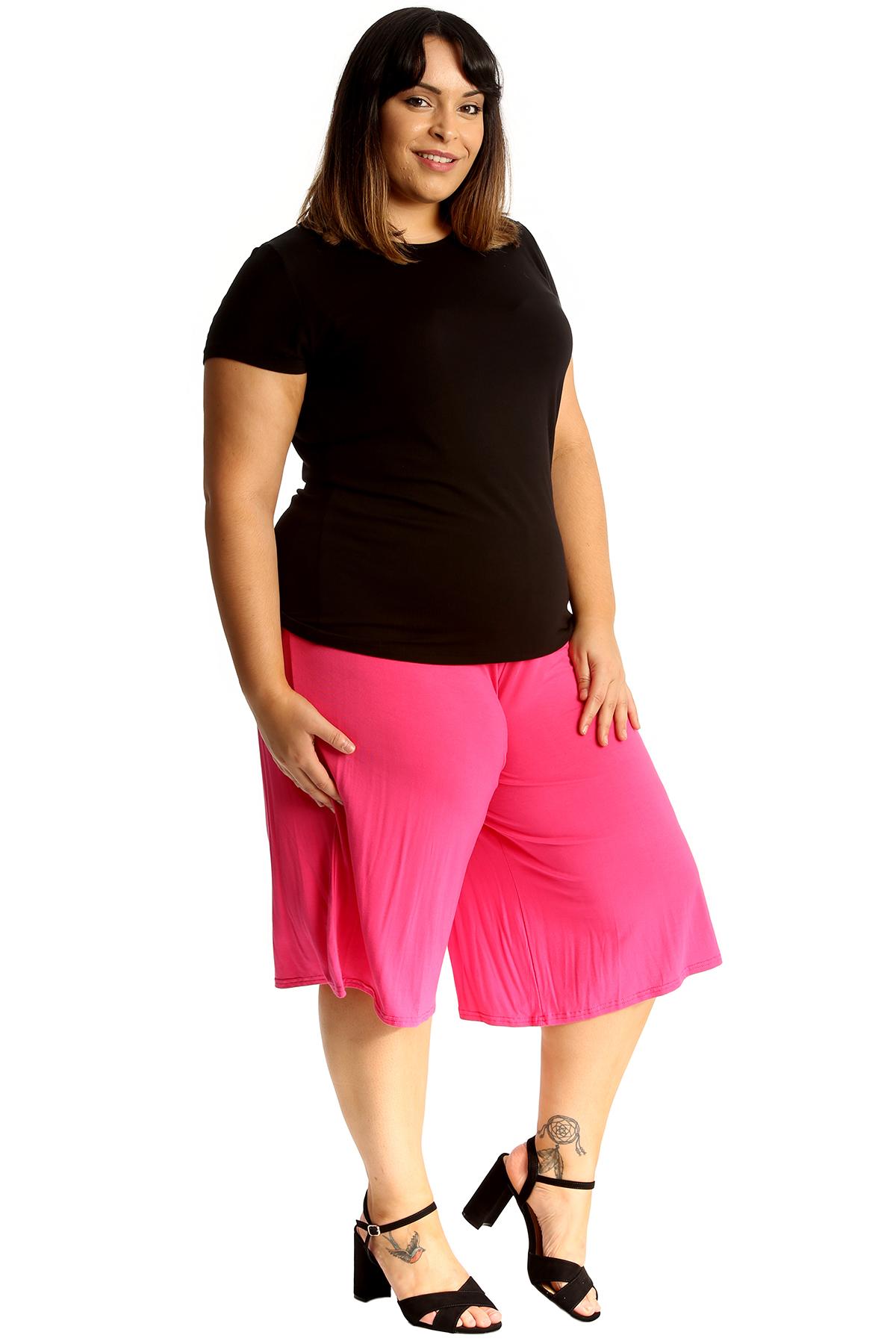 New-Womens-Plus-Size-Culottes-Ladies-Plain-Shorts-Palazzo-Elastic-Pants-Summer thumbnail 19