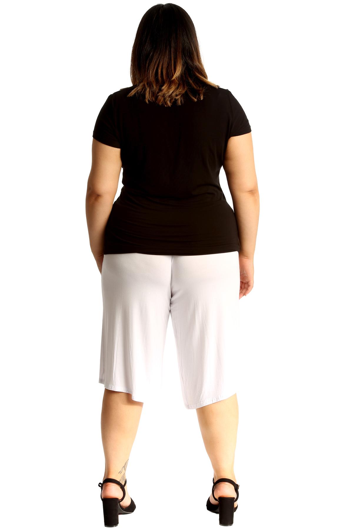 New-Womens-Plus-Size-Culottes-Ladies-Plain-Shorts-Palazzo-Elastic-Pants-Summer thumbnail 44