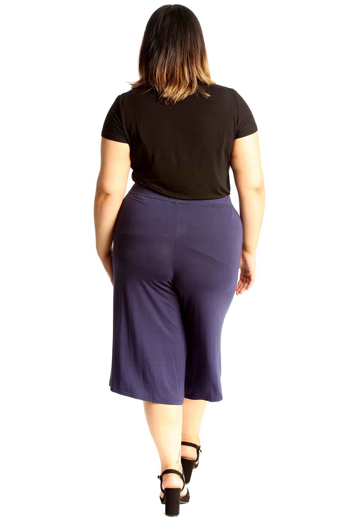 New-Womens-Plus-Size-Culottes-Ladies-Plain-Shorts-Palazzo-Elastic-Pants-Summer thumbnail 68
