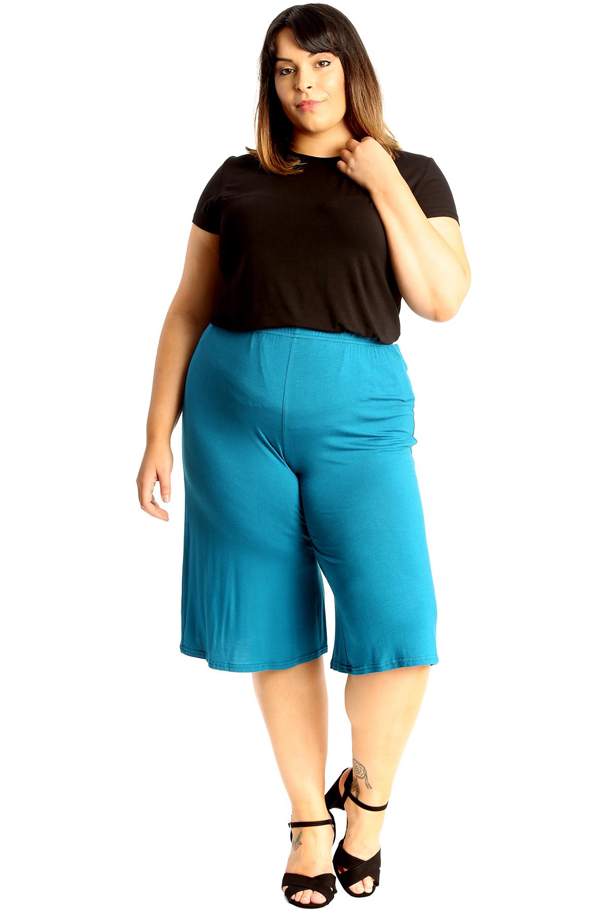 New-Womens-Plus-Size-Culottes-Ladies-Plain-Shorts-Palazzo-Elastic-Pants-Summer thumbnail 38