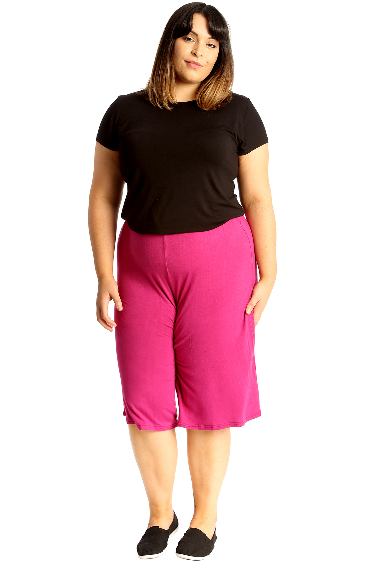 New-Womens-Plus-Size-Culottes-Ladies-Plain-Shorts-Palazzo-Elastic-Pants-Summer thumbnail 63