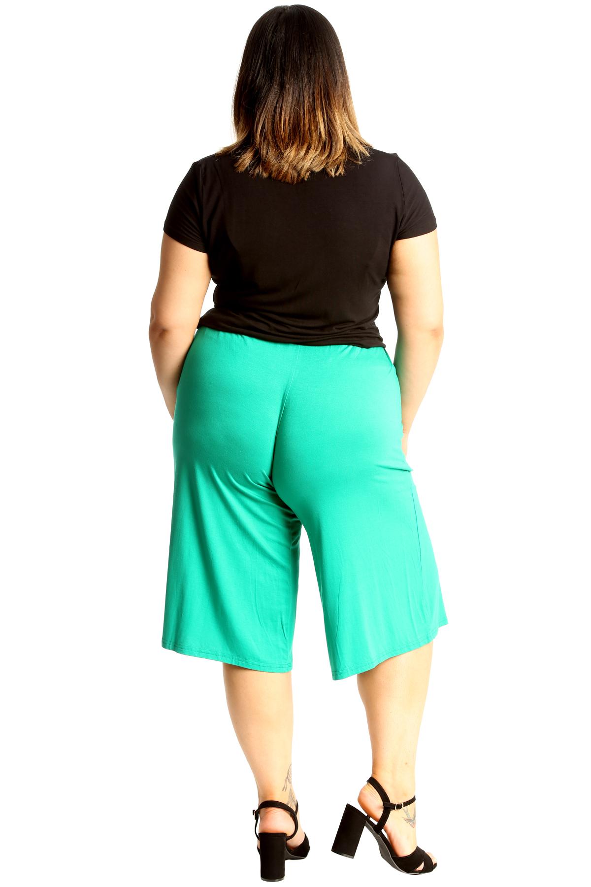 New-Womens-Plus-Size-Culottes-Ladies-Plain-Shorts-Palazzo-Elastic-Pants-Summer thumbnail 52