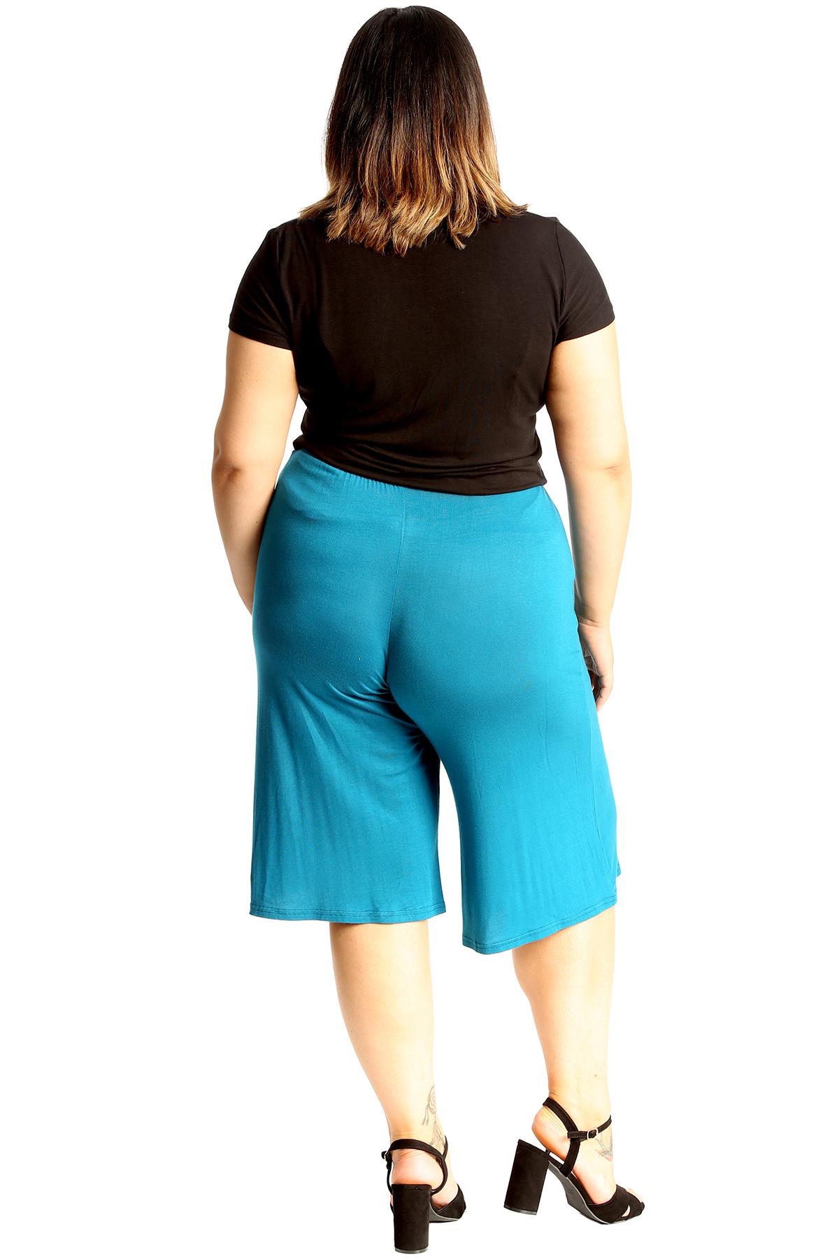 New-Womens-Plus-Size-Culottes-Ladies-Plain-Shorts-Palazzo-Elastic-Pants-Summer thumbnail 40
