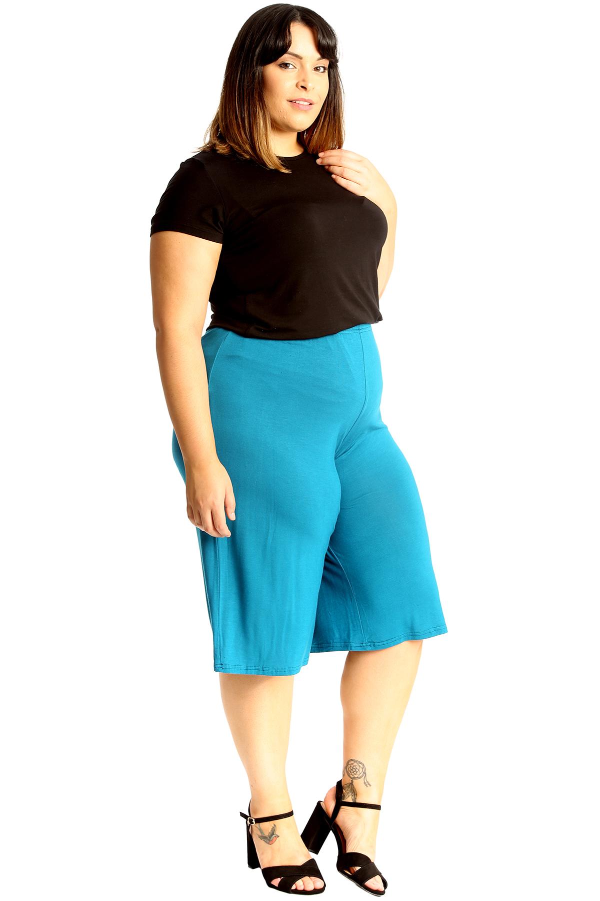 New-Womens-Plus-Size-Culottes-Ladies-Plain-Shorts-Palazzo-Elastic-Pants-Summer thumbnail 39