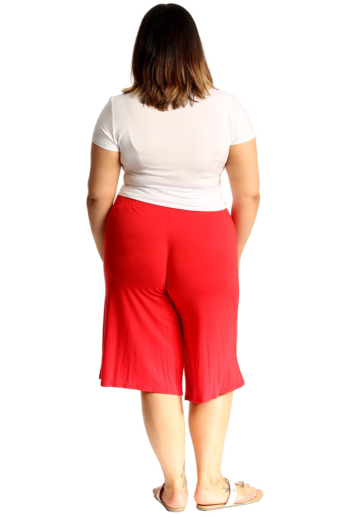 New-Womens-Plus-Size-Culottes-Ladies-Plain-Shorts-Palazzo-Elastic-Pants-Summer thumbnail 36