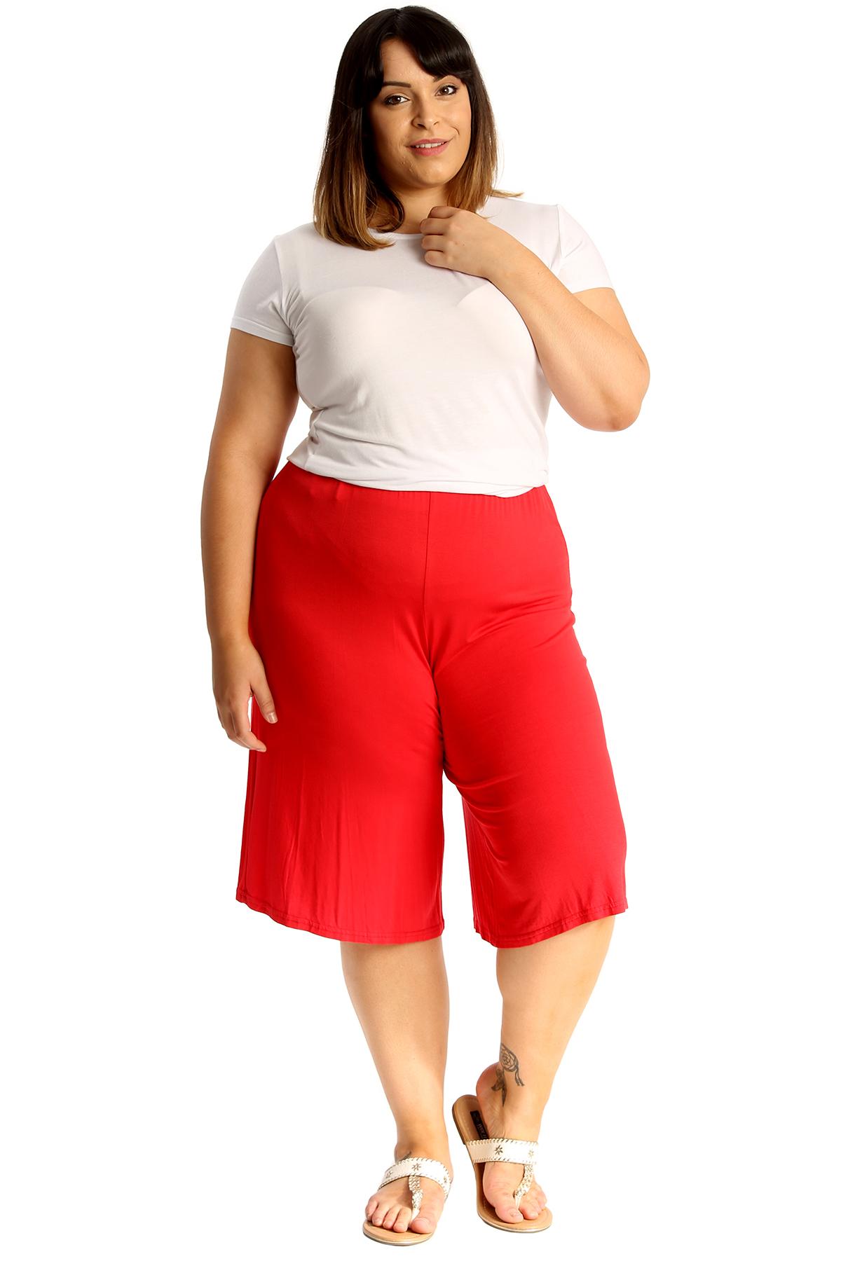 New-Womens-Plus-Size-Culottes-Ladies-Plain-Shorts-Palazzo-Elastic-Pants-Summer thumbnail 34