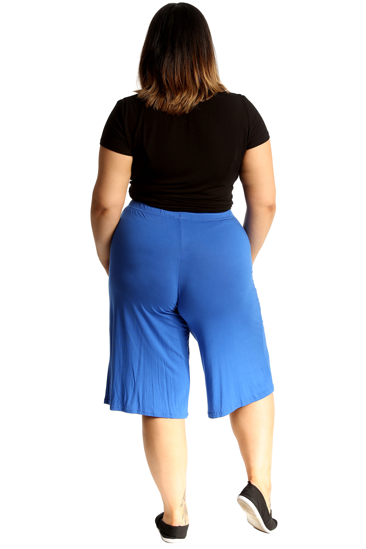New-Womens-Plus-Size-Culottes-Ladies-Plain-Shorts-Palazzo-Elastic-Pants-Summer thumbnail 48