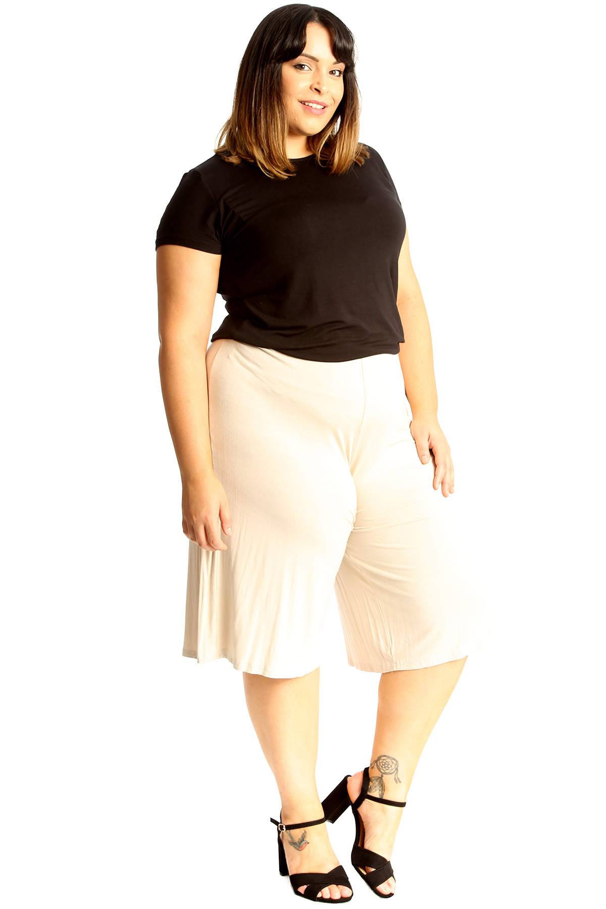 New-Womens-Plus-Size-Culottes-Ladies-Plain-Shorts-Palazzo-Elastic-Pants-Summer thumbnail 59