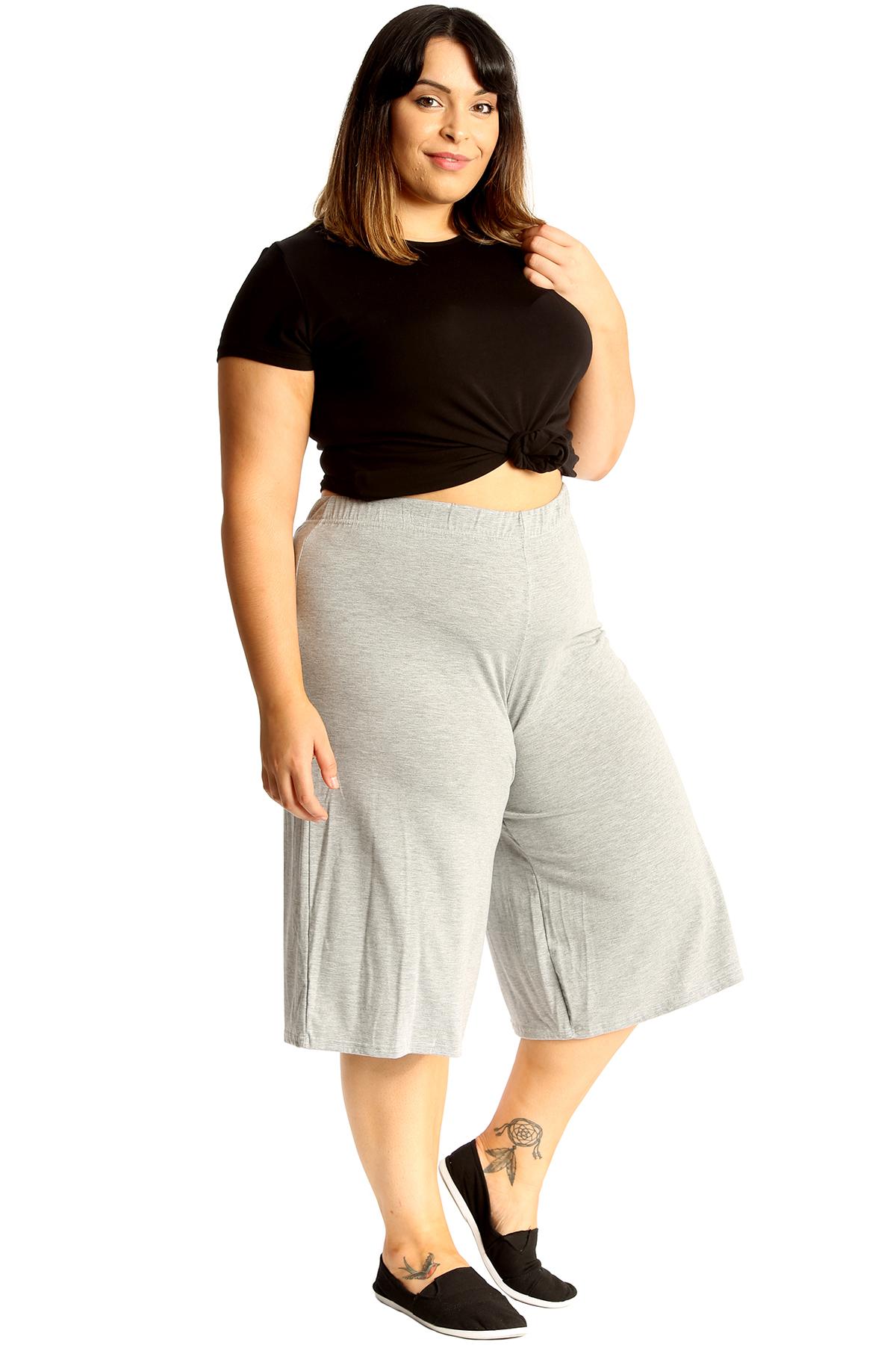 New-Womens-Plus-Size-Culottes-Ladies-Plain-Shorts-Palazzo-Elastic-Pants-Summer thumbnail 23