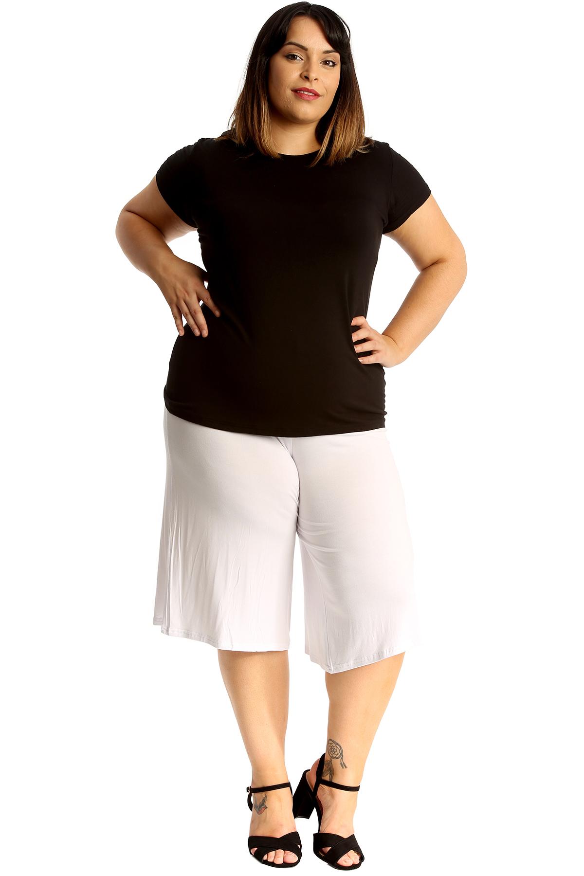 New-Womens-Plus-Size-Culottes-Ladies-Plain-Shorts-Palazzo-Elastic-Pants-Summer thumbnail 42