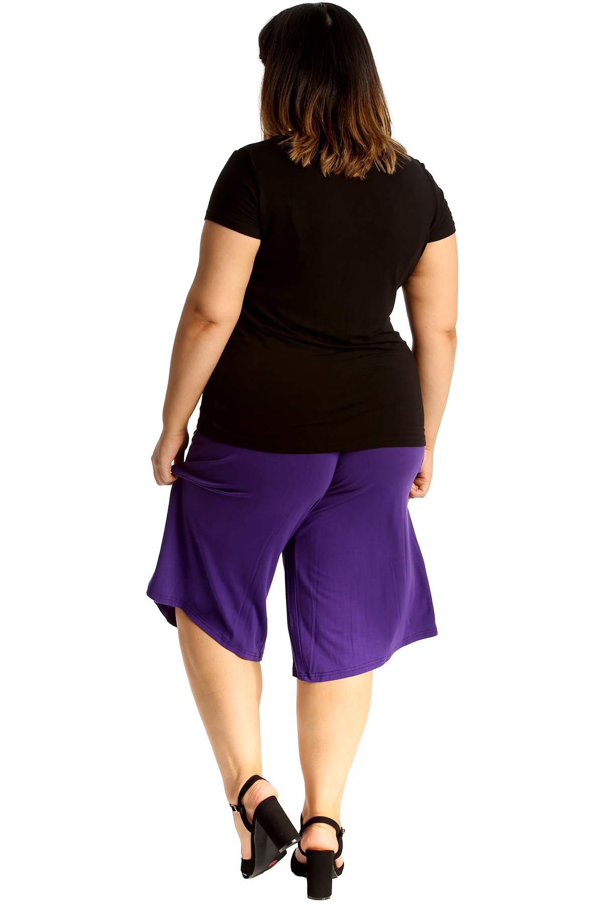 New-Womens-Plus-Size-Culottes-Ladies-Plain-Shorts-Palazzo-Elastic-Pants-Summer thumbnail 32