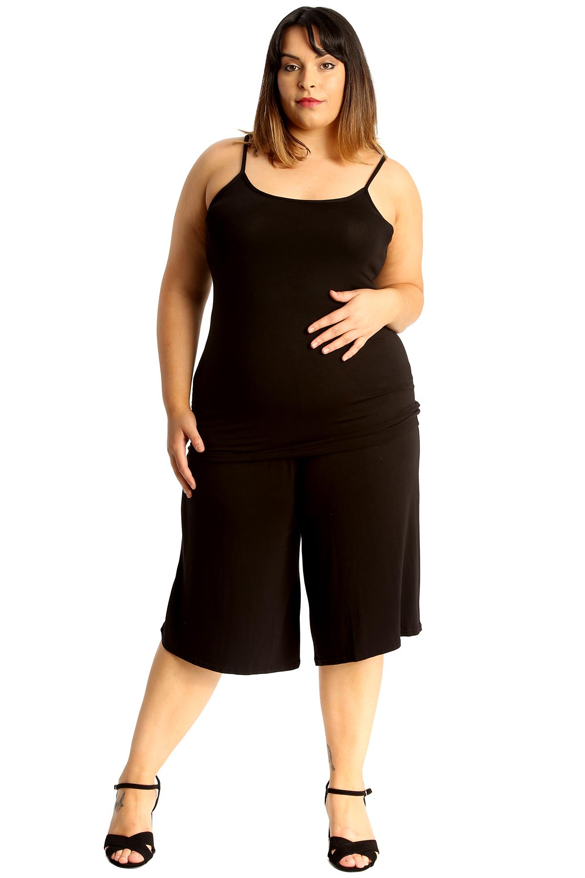 New-Womens-Plus-Size-Culottes-Ladies-Plain-Shorts-Palazzo-Elastic-Pants-Summer thumbnail 14