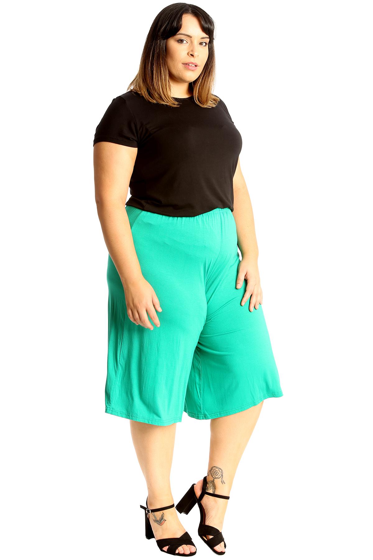 New-Womens-Plus-Size-Culottes-Ladies-Plain-Shorts-Palazzo-Elastic-Pants-Summer thumbnail 51