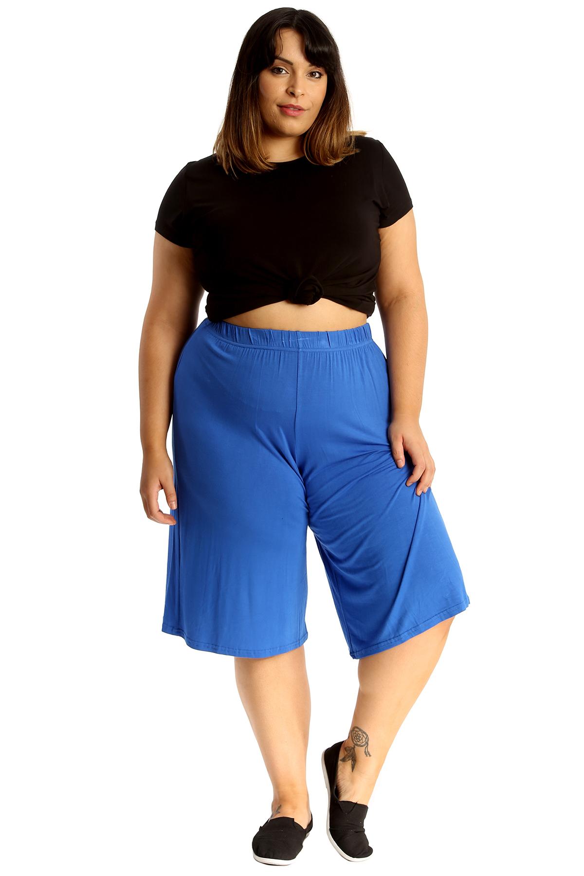 New-Womens-Plus-Size-Culottes-Ladies-Plain-Shorts-Palazzo-Elastic-Pants-Summer thumbnail 46