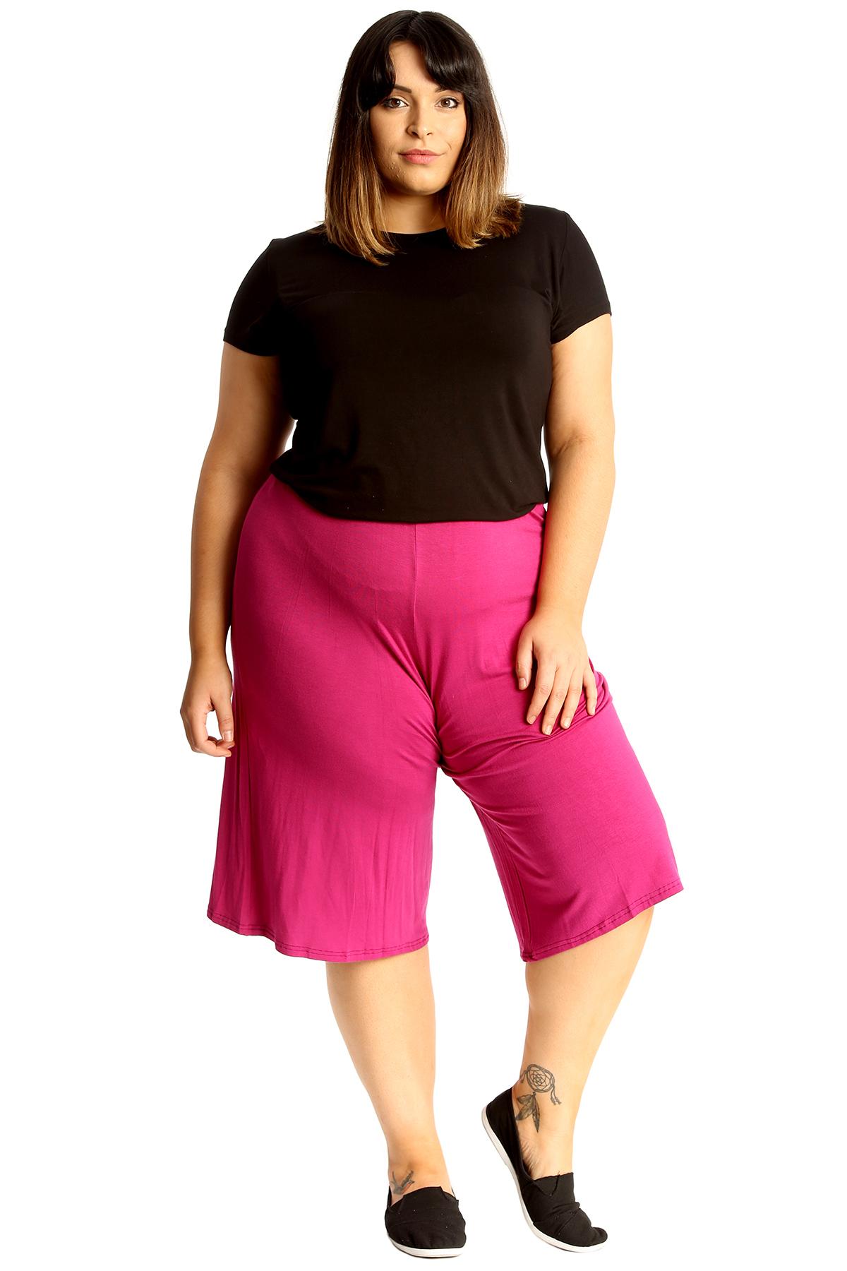 New-Womens-Plus-Size-Culottes-Ladies-Plain-Shorts-Palazzo-Elastic-Pants-Summer thumbnail 62