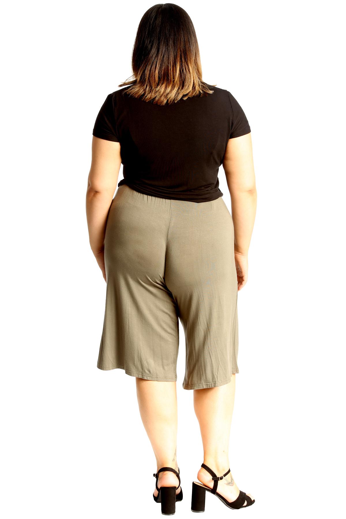 New-Womens-Plus-Size-Culottes-Ladies-Plain-Shorts-Palazzo-Elastic-Pants-Summer thumbnail 56