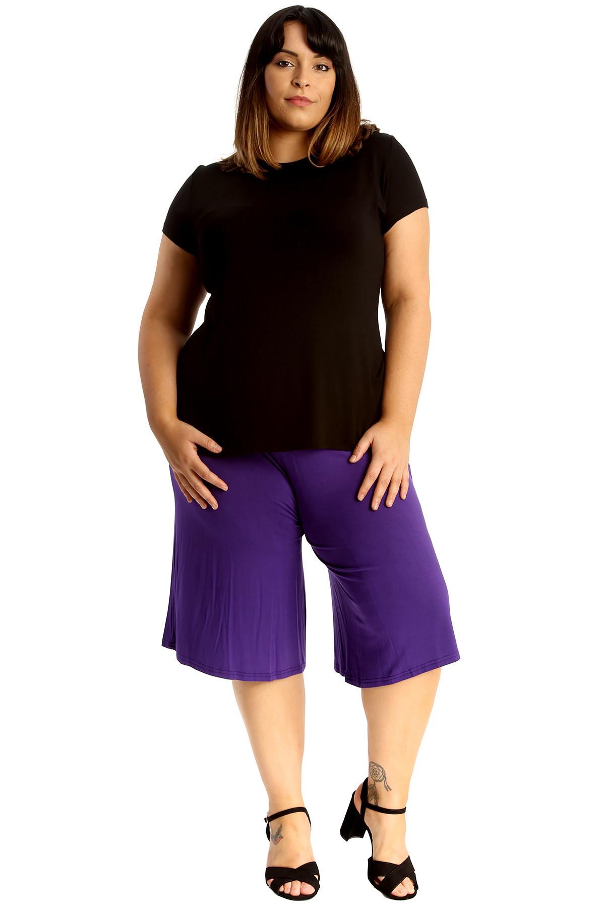 New-Womens-Plus-Size-Culottes-Ladies-Plain-Shorts-Palazzo-Elastic-Pants-Summer thumbnail 31