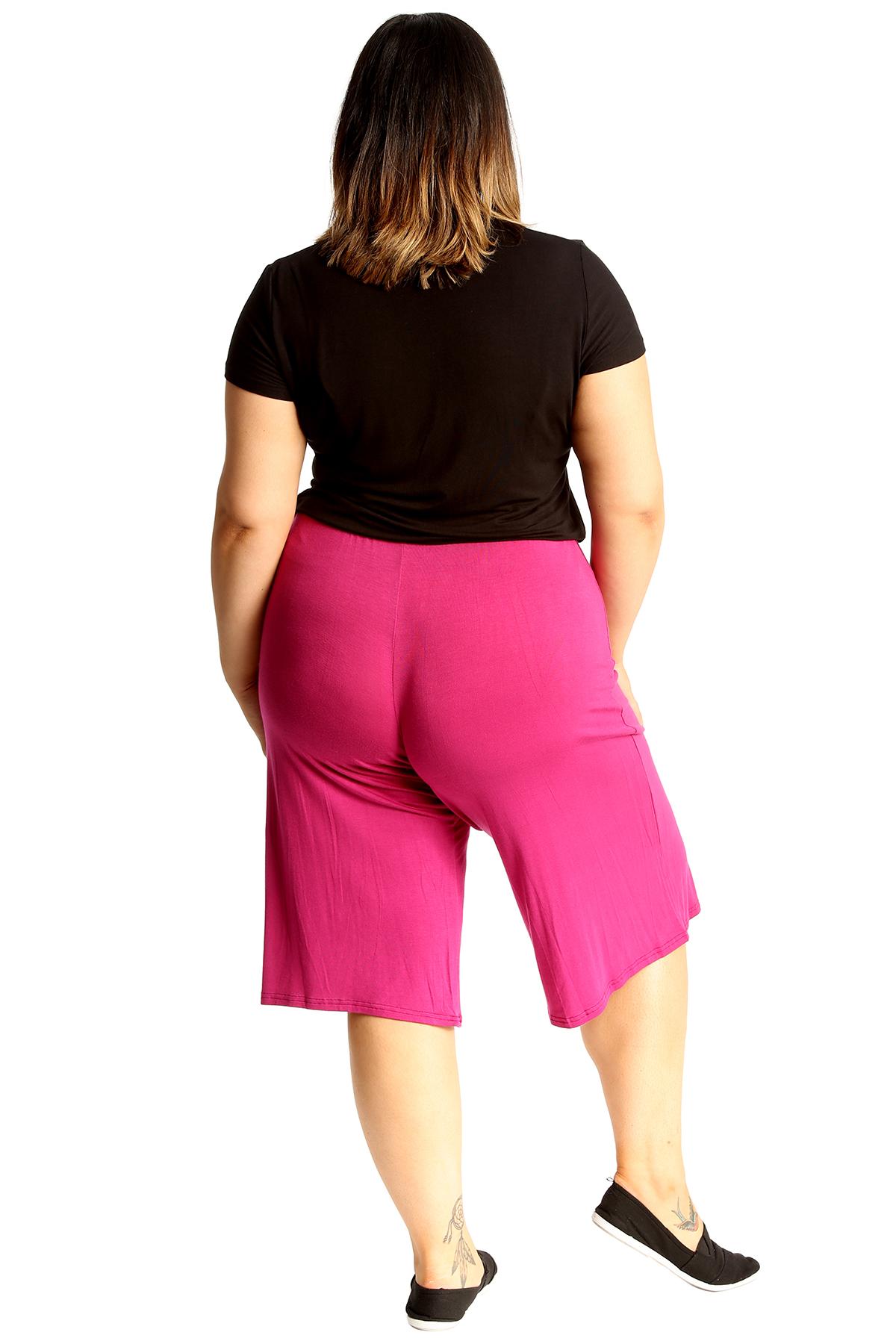 New-Womens-Plus-Size-Culottes-Ladies-Plain-Shorts-Palazzo-Elastic-Pants-Summer thumbnail 64