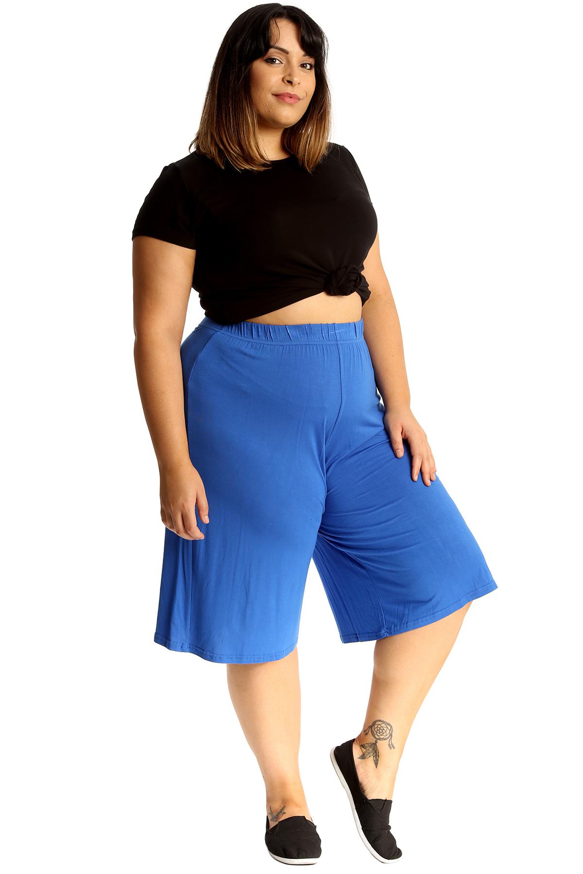 New-Womens-Plus-Size-Culottes-Ladies-Plain-Shorts-Palazzo-Elastic-Pants-Summer thumbnail 47