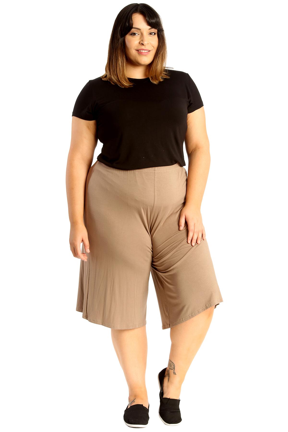 New-Womens-Plus-Size-Culottes-Ladies-Plain-Shorts-Palazzo-Elastic-Pants-Summer thumbnail 26