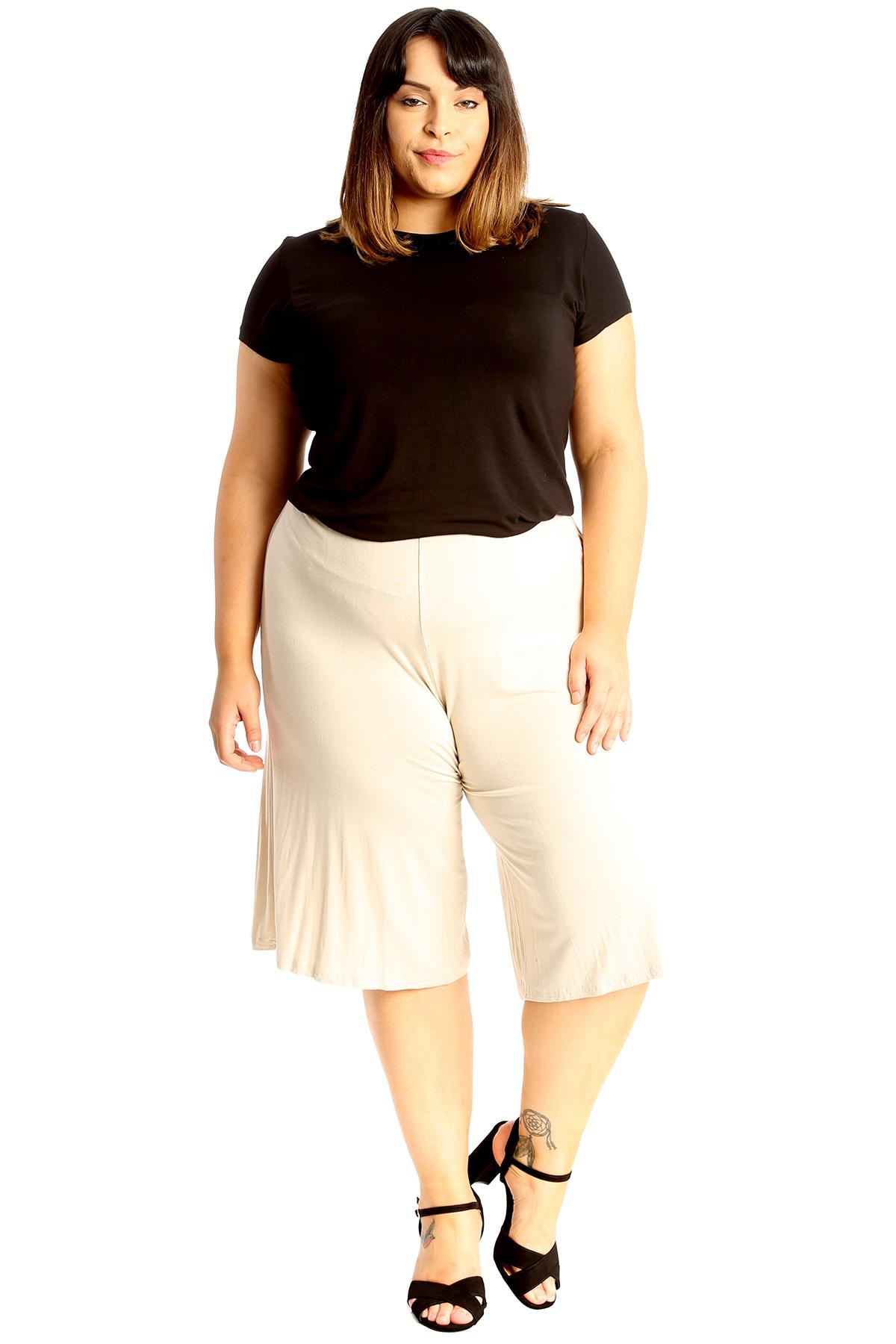New-Womens-Plus-Size-Culottes-Ladies-Plain-Shorts-Palazzo-Elastic-Pants-Summer thumbnail 58