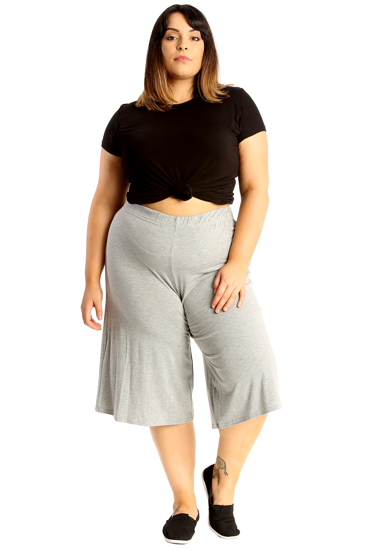 New-Womens-Plus-Size-Culottes-Ladies-Plain-Shorts-Palazzo-Elastic-Pants-Summer thumbnail 22