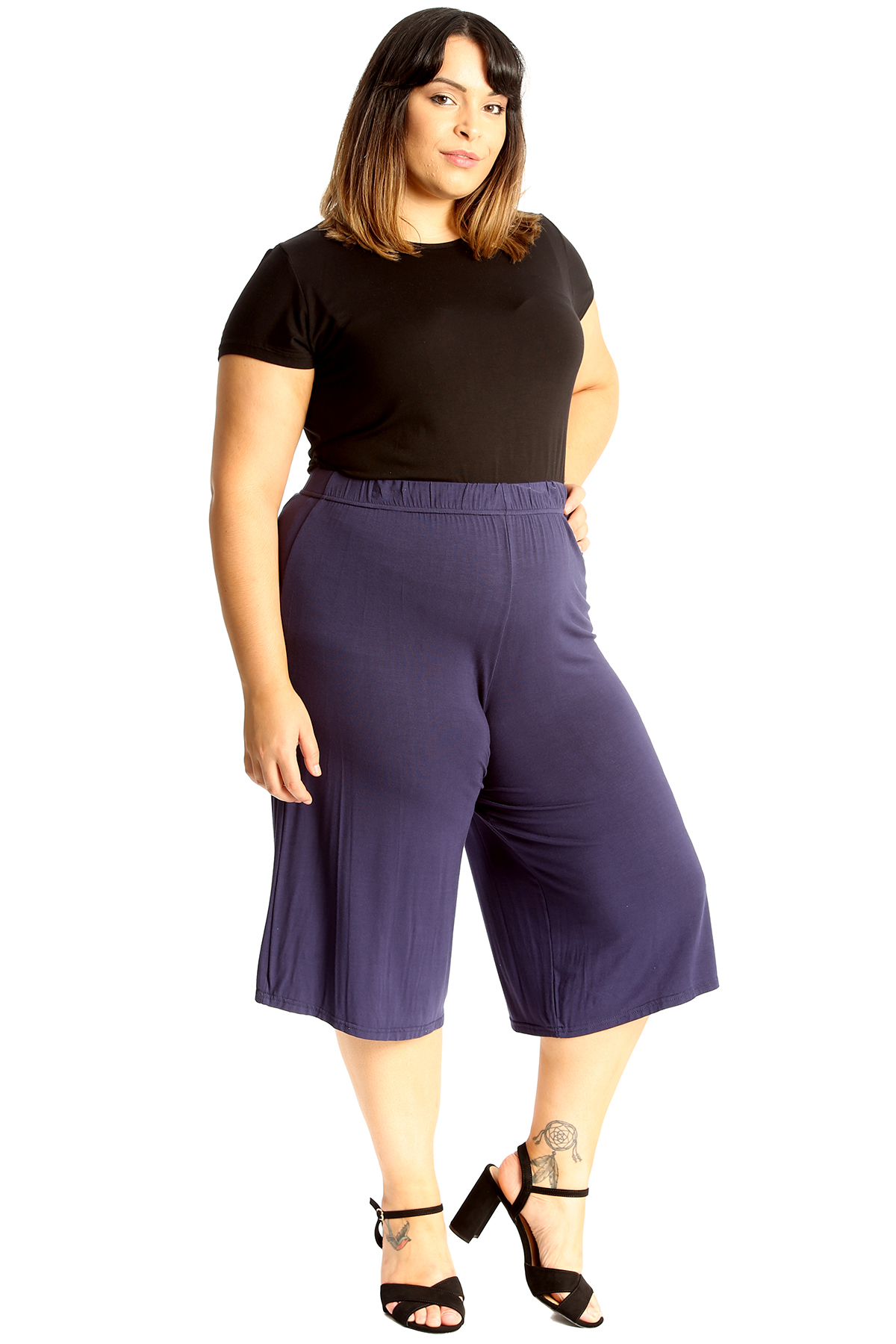 New-Womens-Plus-Size-Culottes-Ladies-Plain-Shorts-Palazzo-Elastic-Pants-Summer thumbnail 67