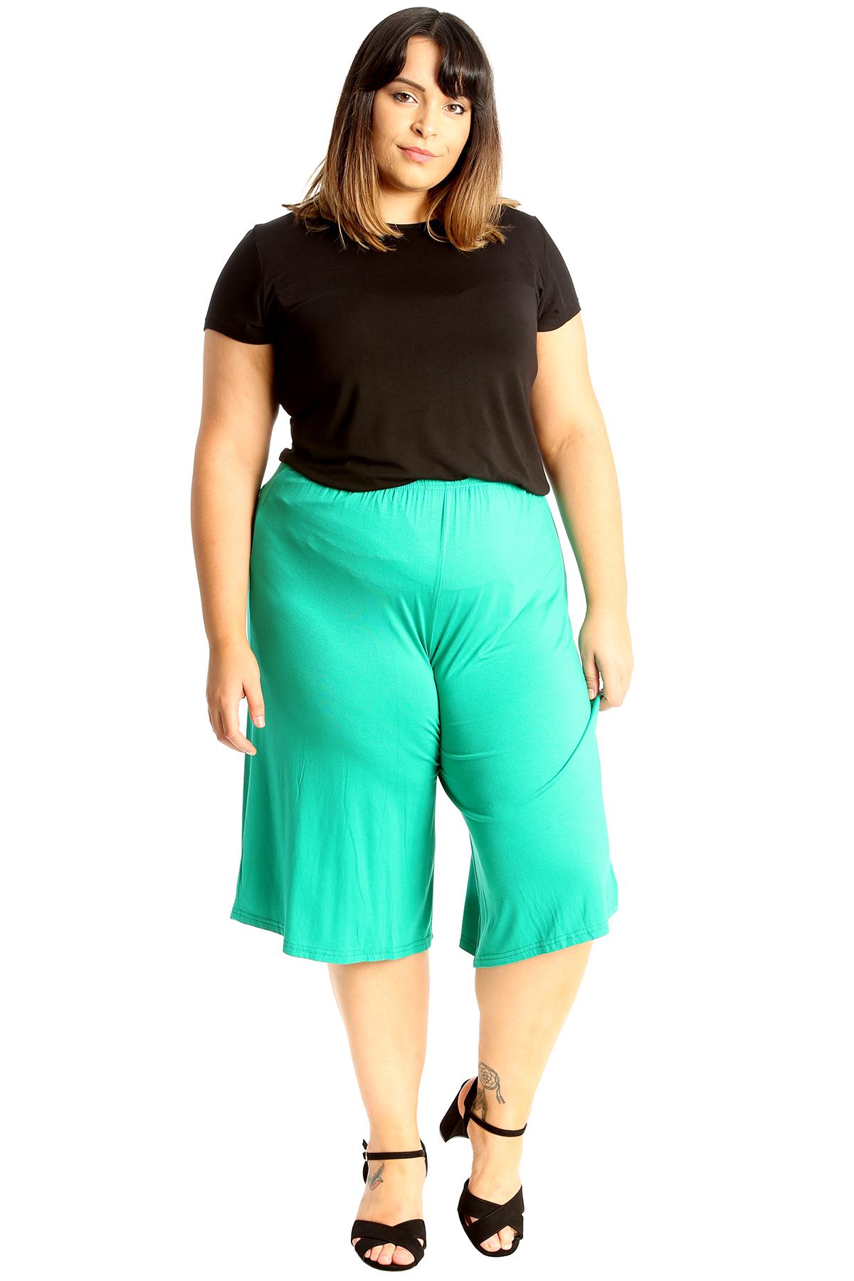 New-Womens-Plus-Size-Culottes-Ladies-Plain-Shorts-Palazzo-Elastic-Pants-Summer thumbnail 50