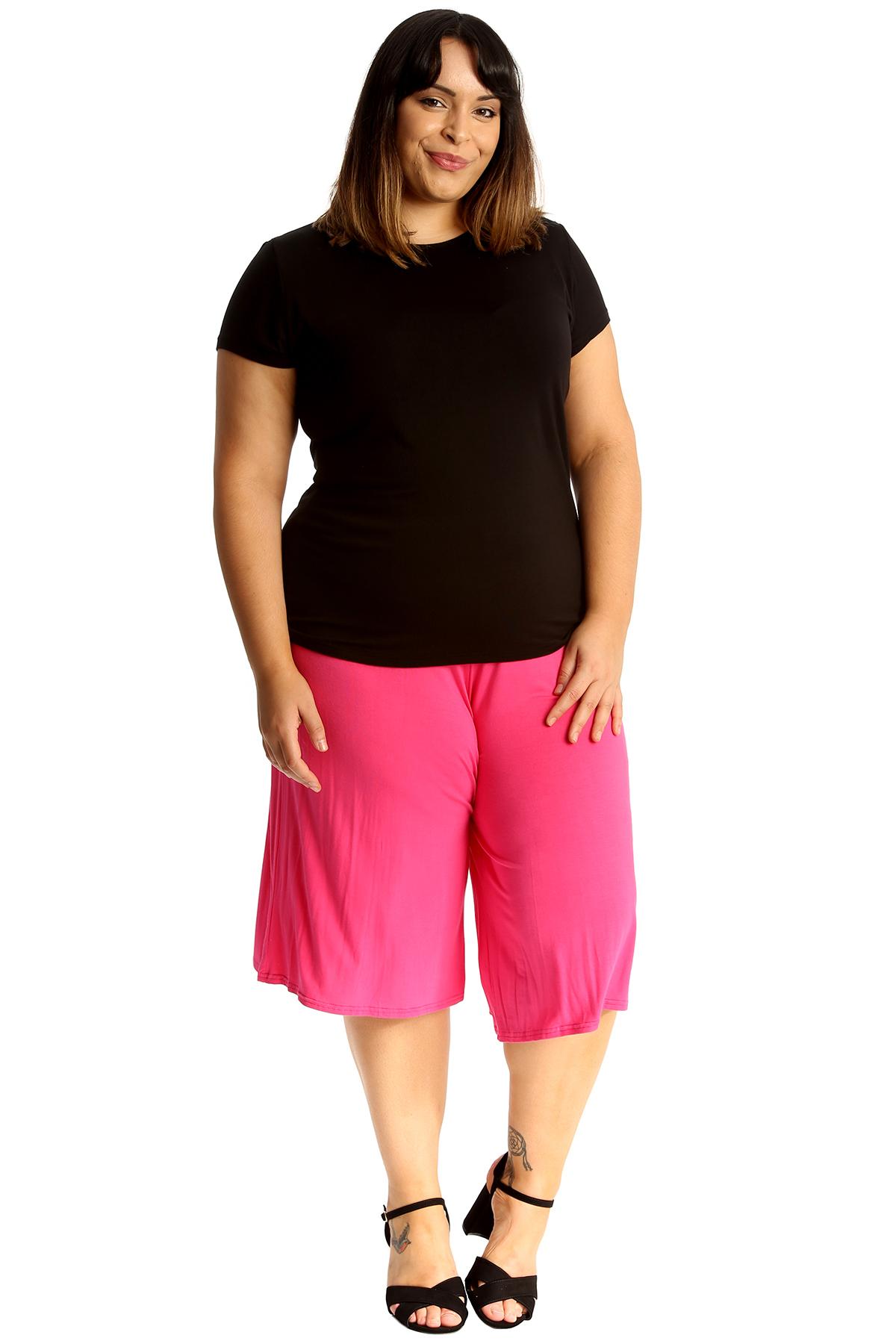 New-Womens-Plus-Size-Culottes-Ladies-Plain-Shorts-Palazzo-Elastic-Pants-Summer thumbnail 18
