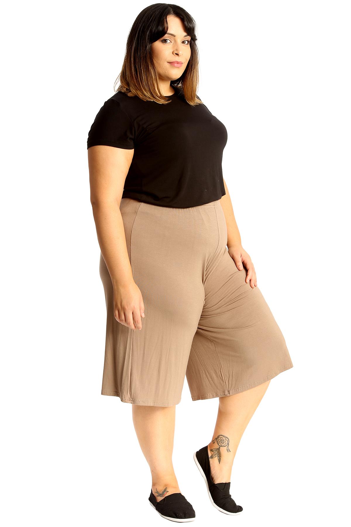 New-Womens-Plus-Size-Culottes-Ladies-Plain-Shorts-Palazzo-Elastic-Pants-Summer thumbnail 27