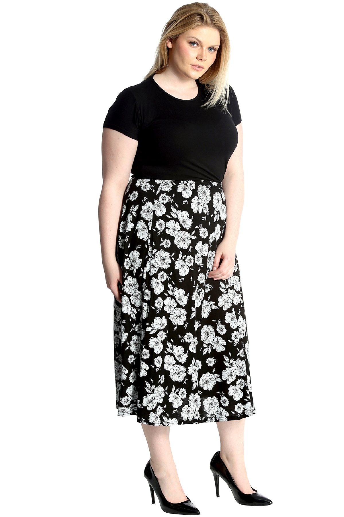 new ladies skirt plus size womens floral print a line maxi. Black Bedroom Furniture Sets. Home Design Ideas