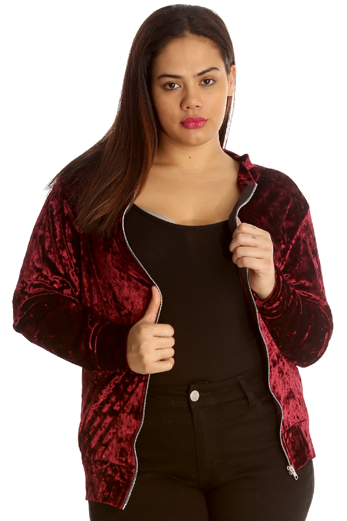 33fc13763d81b Details about New Womens Plus Size Jacket Ladies Bomber Style Velvet Soft  Party Shiny Varsity