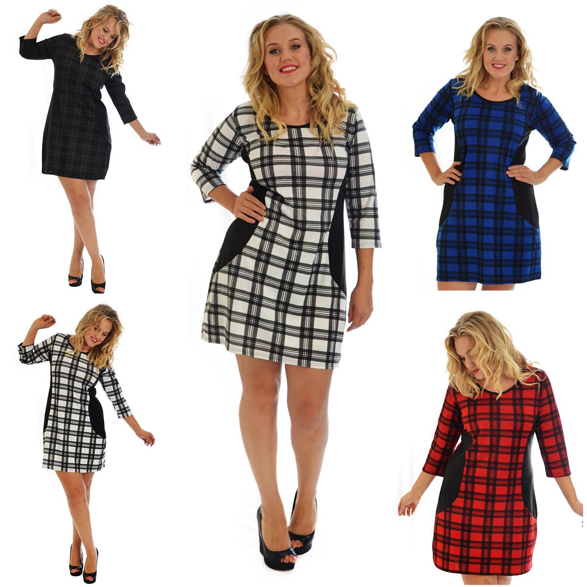 New Womens Dress Plus Size Tartan Ladies Bodycon Check Midi Scottish Nouvelle