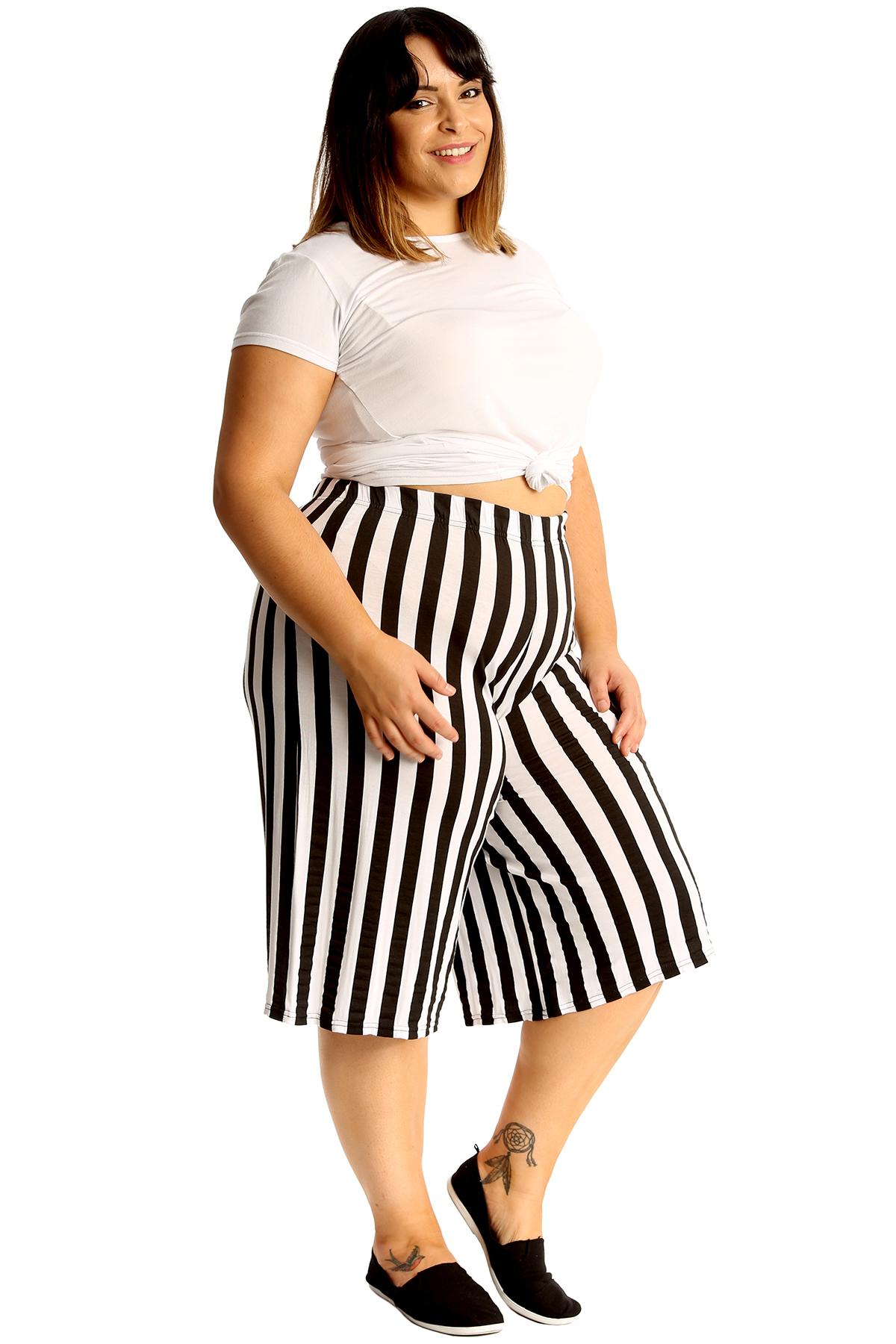 thumbnail 6 - New Womens Plus Size Culottes Ladies Stripe Print Shorts Elastic Waist Wide Leg