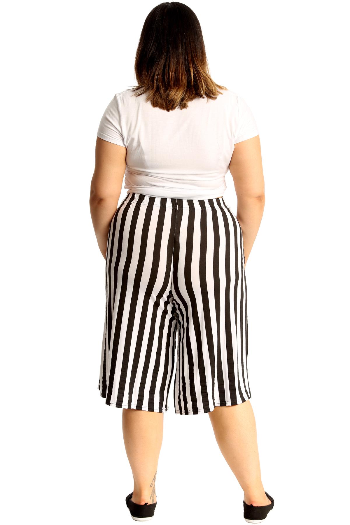 thumbnail 7 - New Womens Plus Size Culottes Ladies Stripe Print Shorts Elastic Waist Wide Leg