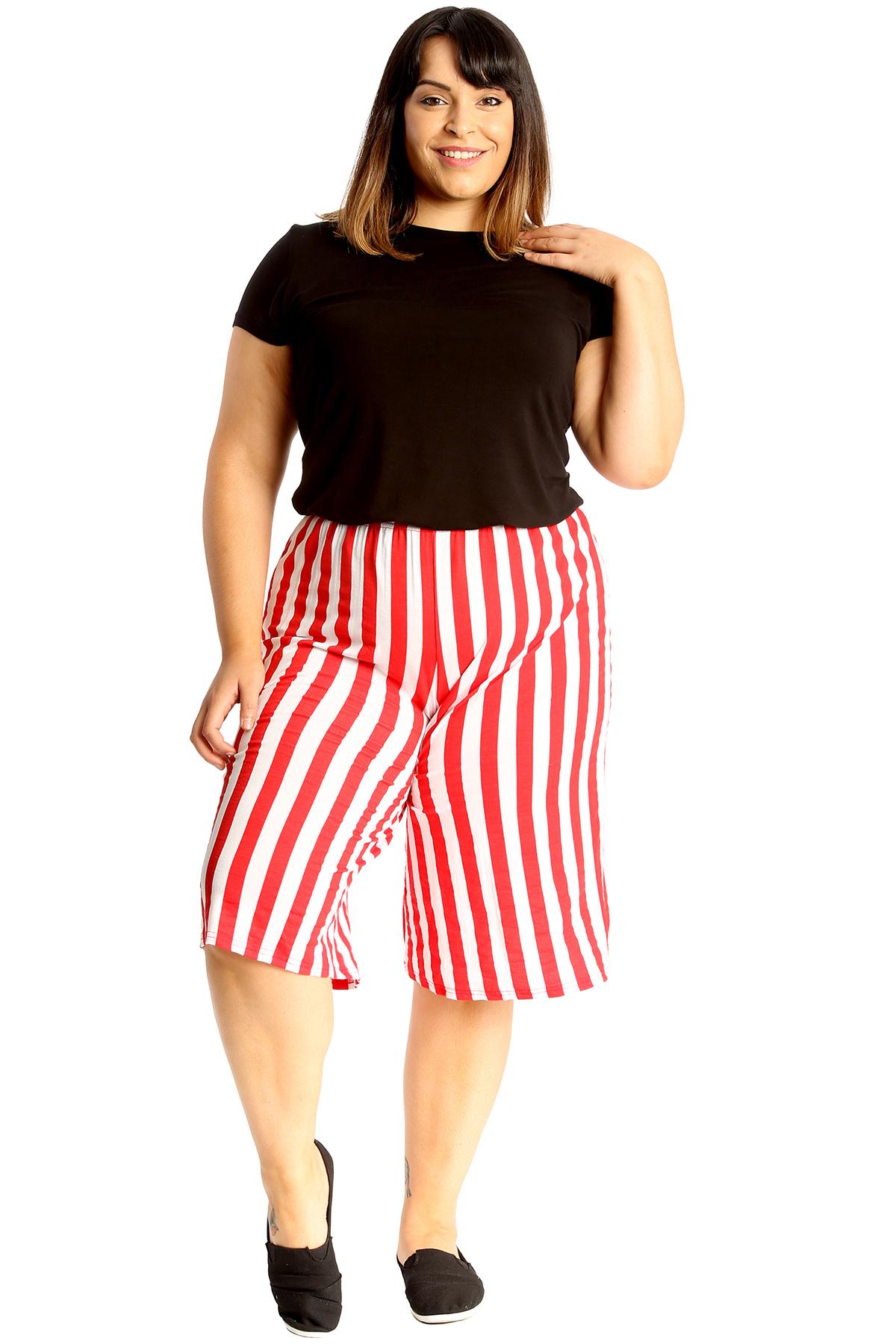 thumbnail 9 - New Womens Plus Size Culottes Ladies Stripe Print Shorts Elastic Waist Wide Leg