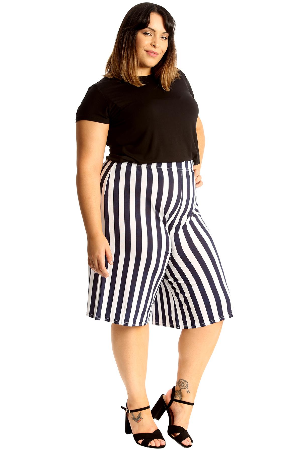 thumbnail 14 - New Womens Plus Size Culottes Ladies Stripe Print Shorts Elastic Waist Wide Leg