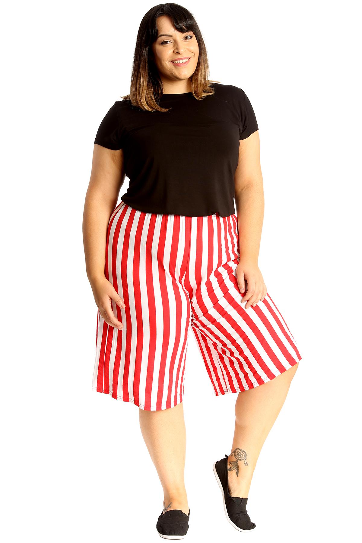 thumbnail 10 - New Womens Plus Size Culottes Ladies Stripe Print Shorts Elastic Waist Wide Leg