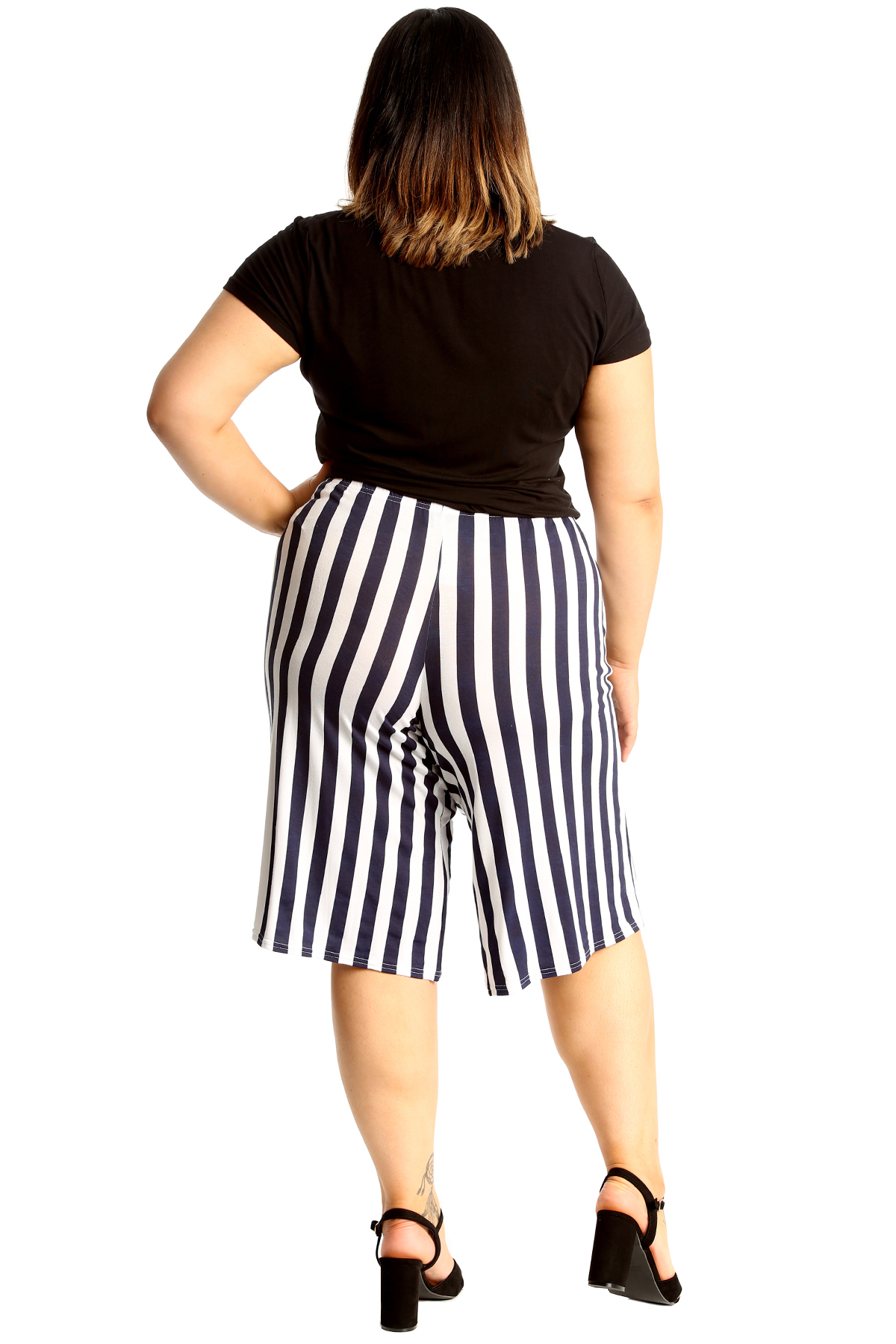 thumbnail 15 - New Womens Plus Size Culottes Ladies Stripe Print Shorts Elastic Waist Wide Leg