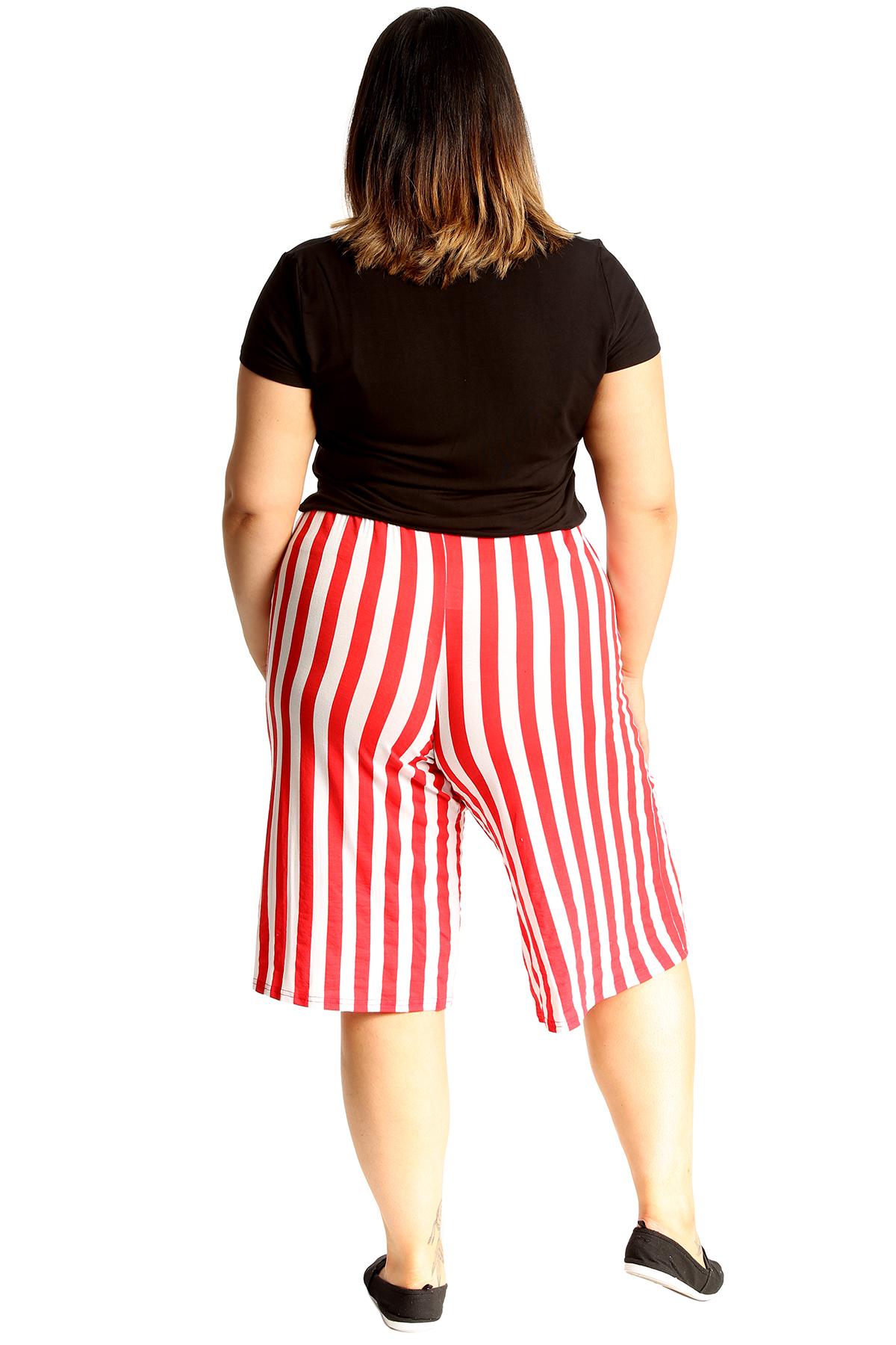 thumbnail 11 - New Womens Plus Size Culottes Ladies Stripe Print Shorts Elastic Waist Wide Leg